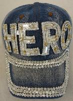 Denim Hat with Bling [HERO] Silver
